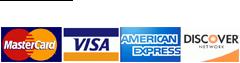 We Accept Mastercard, Visa, American Express, Discover